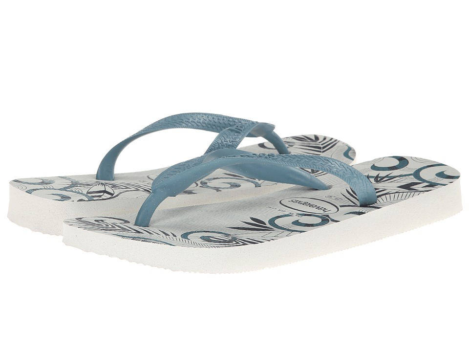 Havaianas - Aloha Flip Flops (White/Blue/Navy Blue) Men's Sandals