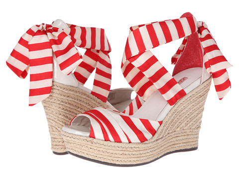 UGG - Lucianna Stripe (Tomato Soup Silk) Women's Wedge Shoes