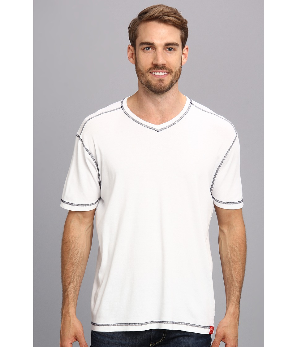 Agave Denim - D. Anderson S/S V-Neck (Bright White) Men's Short Sleeve Pullover