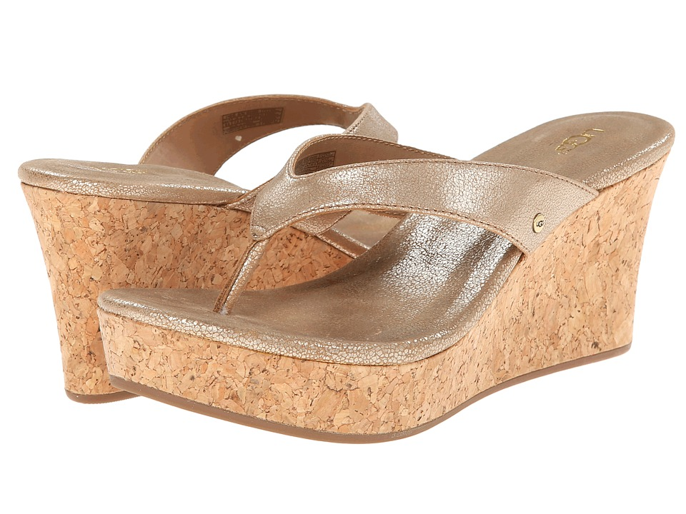 UGG - Natassia (Gold Washed Leather) Women's Wedge Shoes