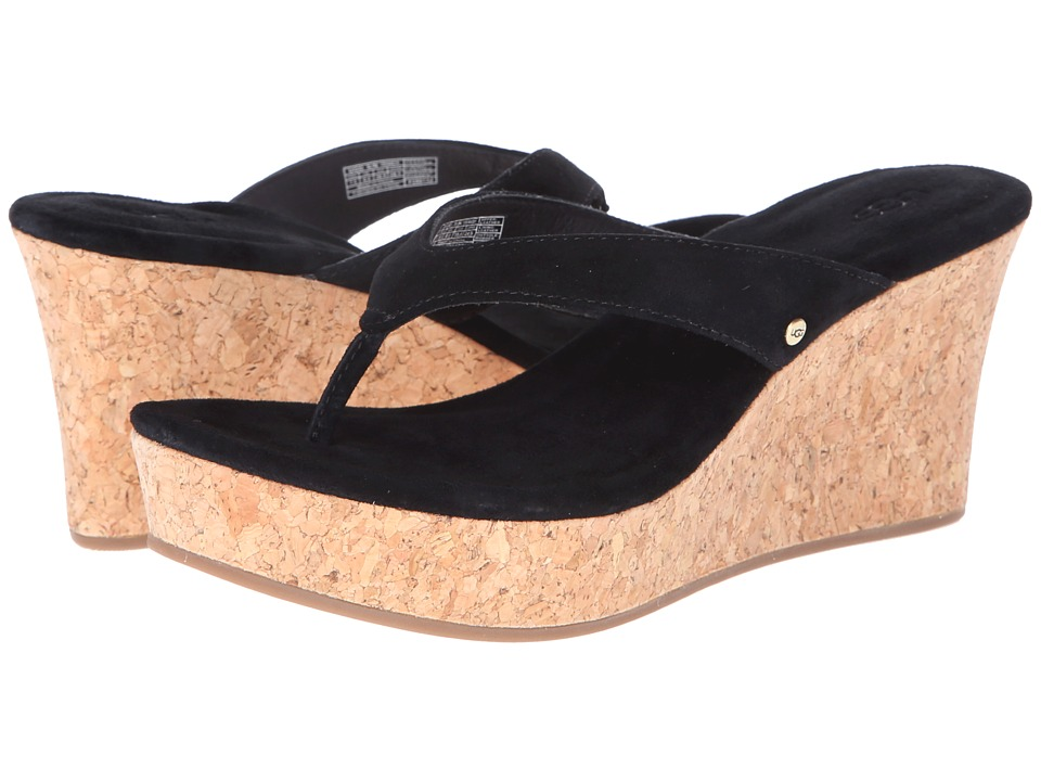 UGG - Natassia (Black Suede) Women's Wedge Shoes