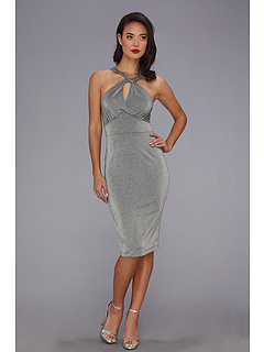 SALE! $74.99 - Save $75 on Stop Staring! for The Cool People Tara Fitted Dress (Metallic Grey) Apparel - 50.01% OFF $150.00