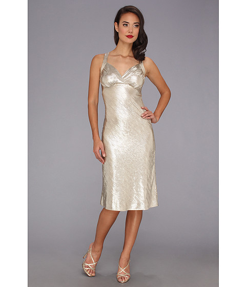 Stop Staring! for The Cool People - Luz Fitted Dress (Metallic Champagne) Women's Dress