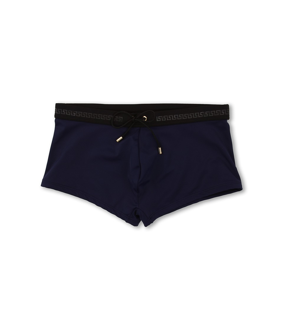 Versace - Lycra Swim Trunk W/ Logo (Blue) Men's Swimwear