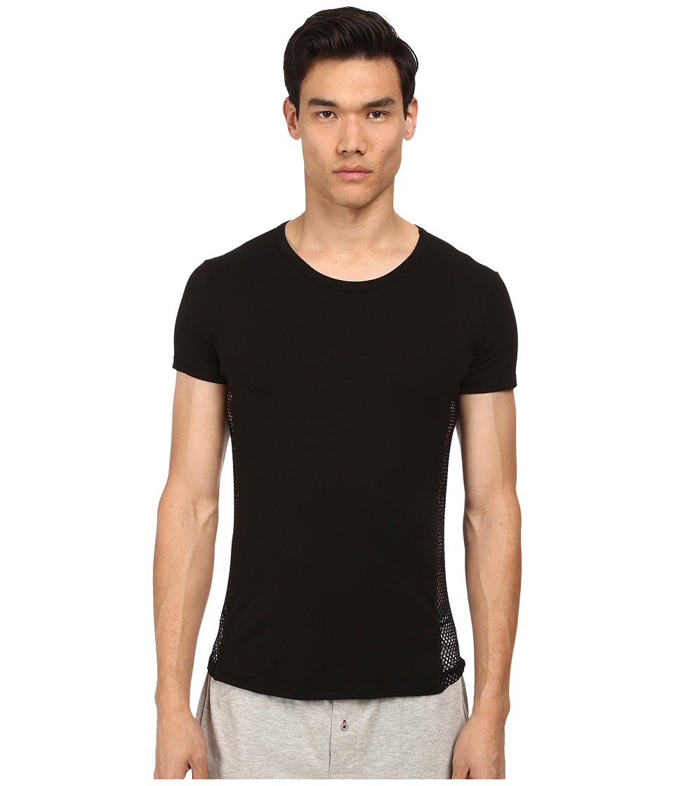 Versace - Mesh T-Shirt (Black) Men's Short Sleeve Pullover