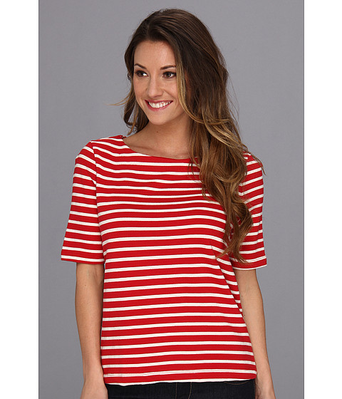 Three Dots - S/S Top w/ Zipper Back Detail (Haute Red) Women's Short Sleeve Pullover