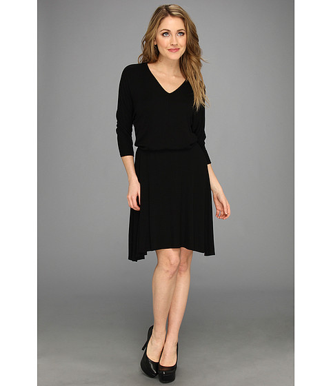 Three Dots - Three Quarter Dolman Sleeve Dress w/ Seam Detailing (Black) Women