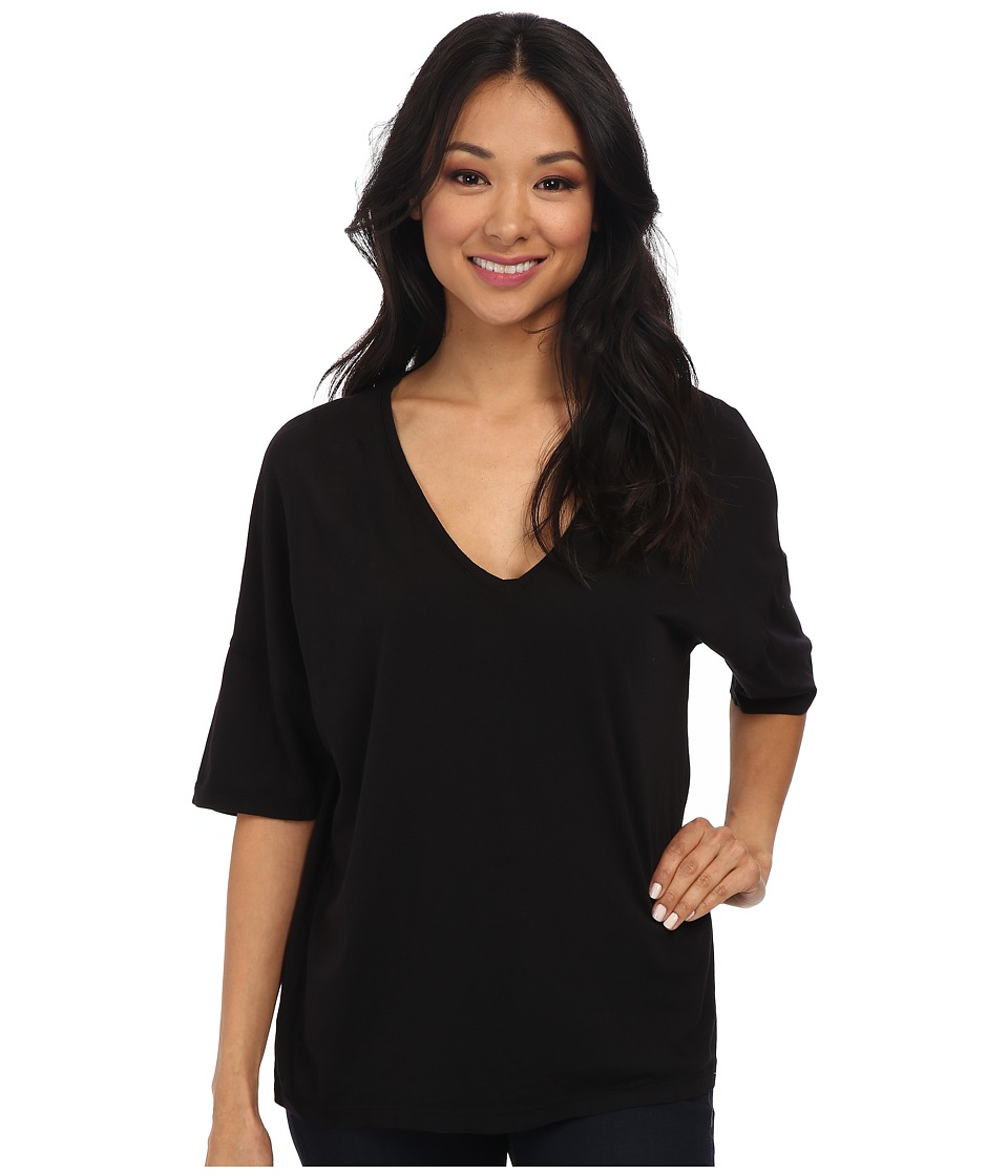 Three Dots - Relaxed S/S V-Neck (Black) Women's Short Sleeve Pullover