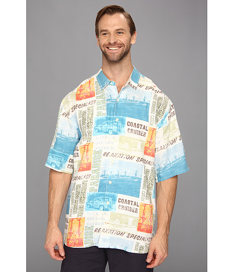 Tommy Bahama Big & Tall - Big Tall Paddle Board Breezer S/S Shirt (White) Men's Short Sleeve Button Up