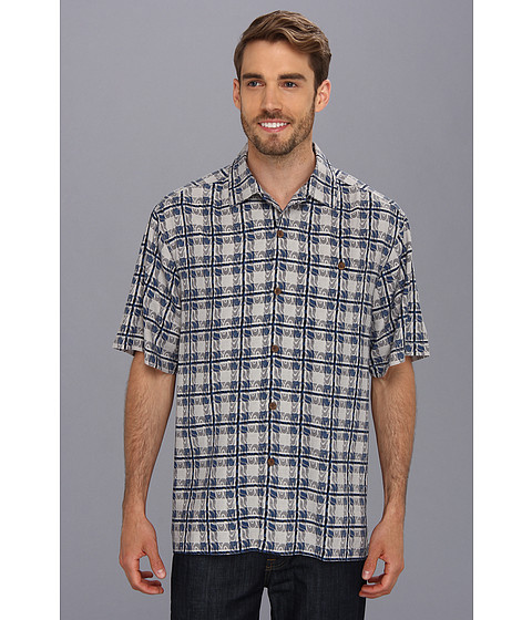 Tommy Bahama - Sail-A-Wave Plaid Camp Shirt (Black) Men's Short Sleeve Button Up