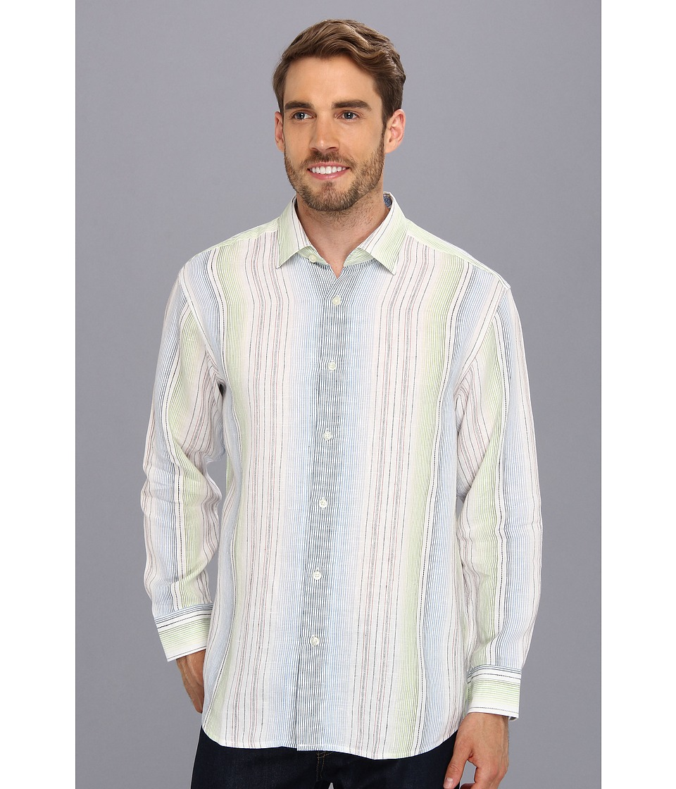 Tommy Bahama - Stripe Prix Racer L/S Shirt (Clear Sky Blue) Men's Long Sleeve Button Up