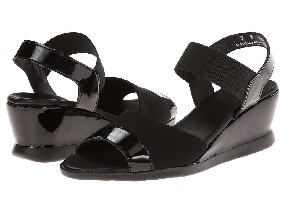 Munro American - Niki (Black Patent/Black Fabric) Women's Wedge Shoes