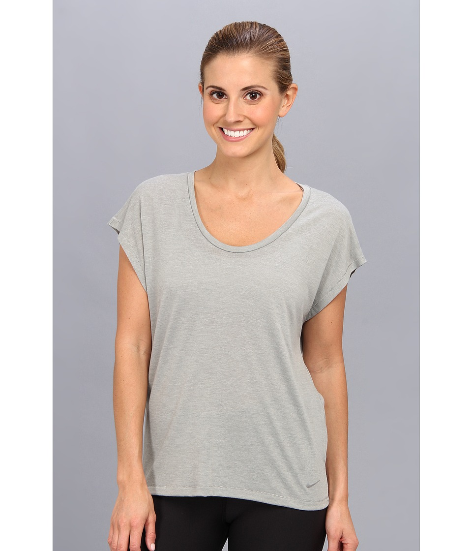 Nike - Club Boxy Tee (Dark Grey Heather/Base Grey) Women's Short Sleeve Pullover