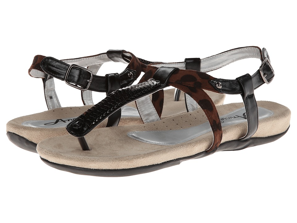 Annie - Saphire (Black/Leopard) Women's Sandals