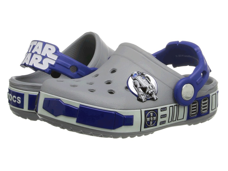 Crocs Kids - Star Wars Lighted R2D2 Clog (Toddler/Little Kid) (Light Grey/Cerulean Blue) Boys Shoes