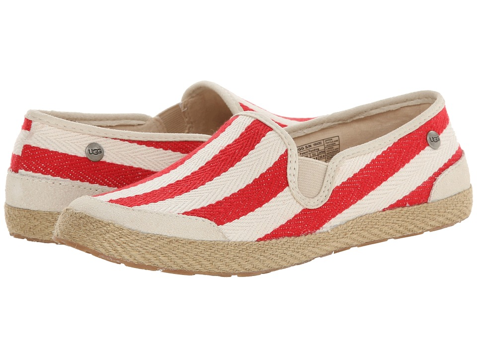UGG - Delizah Stripe (Tomato Soup Textile) Women's Slip on Shoes