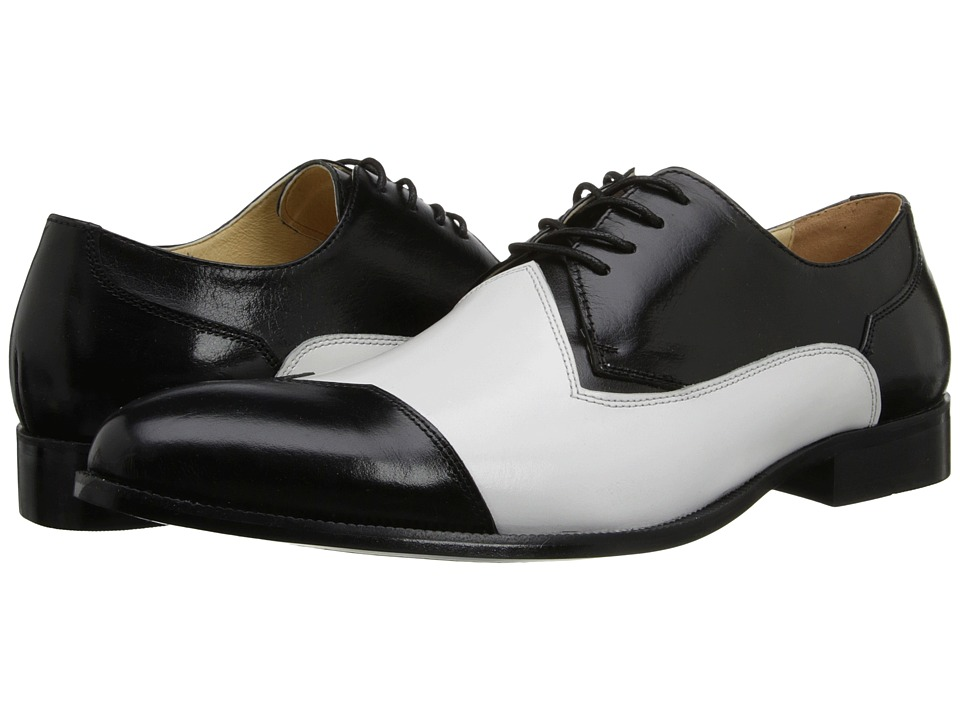 Stacy Adams - Steadman (Black/White Buffalo Leather) Men's Shoes