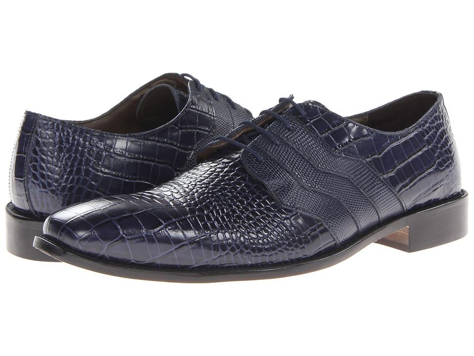 Stacy Adams - Gabino (Dark Blue Crocodile/Iguana Print Leather) Men's Shoes