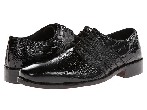 Stacy Adams - Gabino (Black Crocodile/Iguana Print Leather) Men's Shoes
