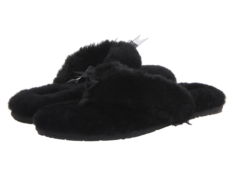 UGG - Fluff Flip Flop II (Black Sheepskin) Women's Slippers