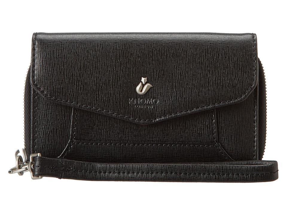 KNOMO London - Seymour Leather Smartphone Wristlet (Black) Wristlet Handbags
