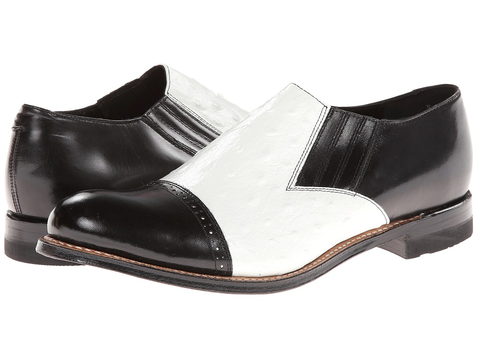Stacy Adams - Madison (Cap Toe) (Black/White Kidskin/Ostrich Print Leather) Men's Dress Flat Shoes