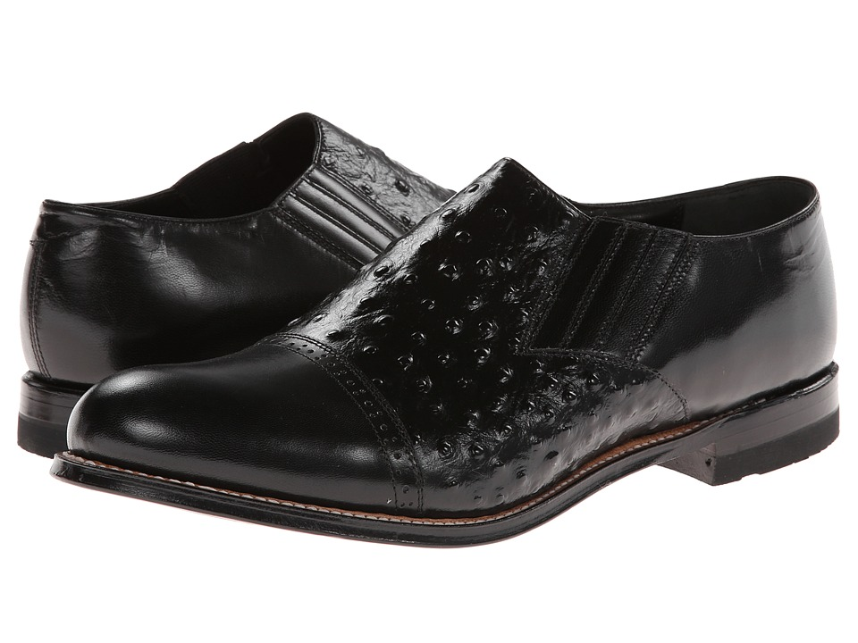 Stacy Adams - Madison (Cap Toe) (Black Kidskin/Ostrich Print Leather) Men's Dress Flat Shoes