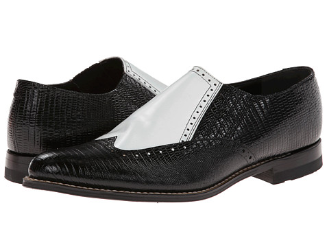 Stacy Adams - Dayton (Black/White Lizard Print Leather/Kidskin) Men