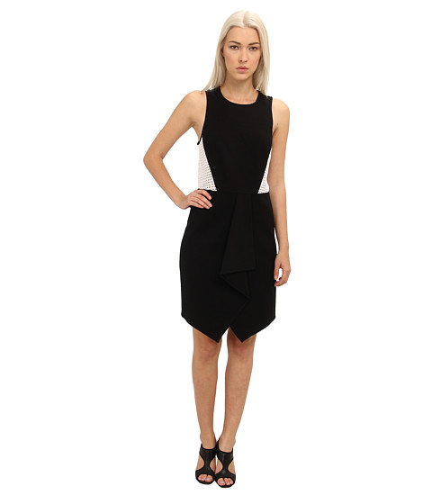 tibi - Ponte Drape Front Sleeveless Dress w /Eyelet Combo (Black) Women's Dress