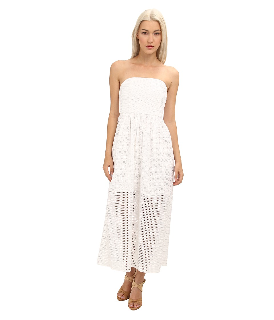 tibi - Kat Eyelet Strapless Maxi Dress (White) Women's Dress