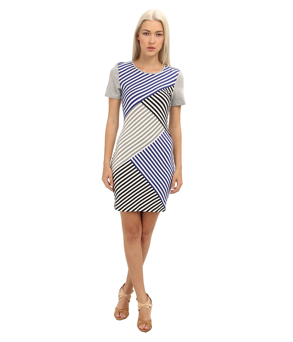 tibi - Racetrack Stripe Open Back Bandage Dress (Blue Multi) Women's Dress
