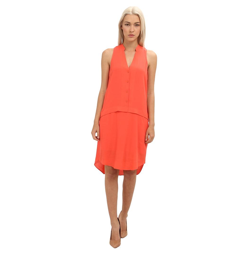 tibi Rayon Dry Crepe Sleeveless Shirt Dress Womens Dress (Red)