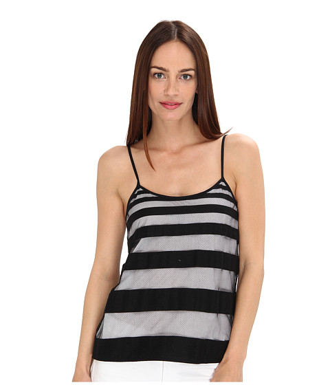 tibi - Striped Jacquard Gauze Cami (Black/White) Women