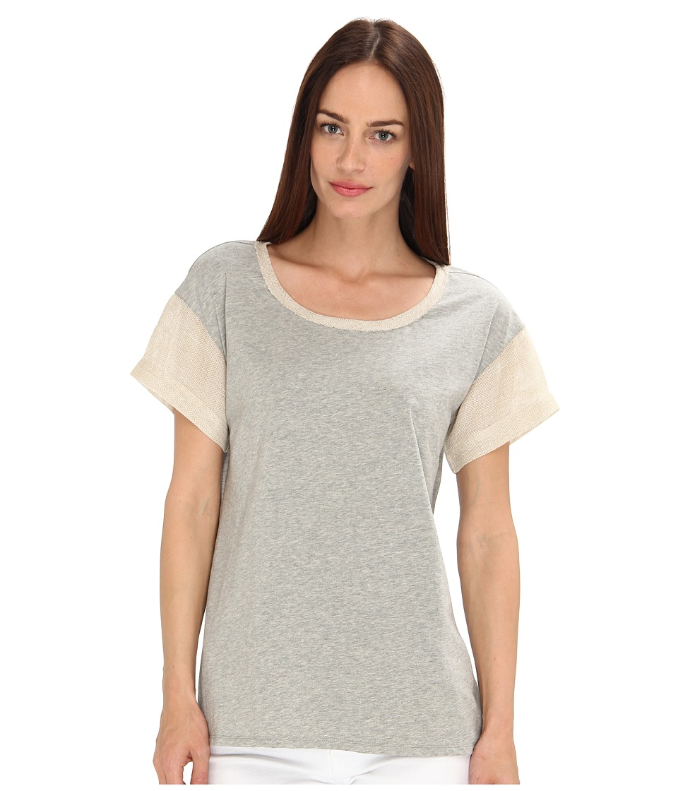 tibi - Raffia Trim Tops Short Sleeve Top (Heather Grey) Women