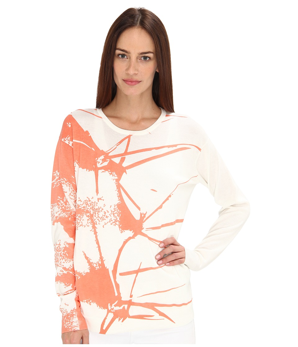 tibi - Printed Cactus Sweater Pullover (Coral Multi) Women