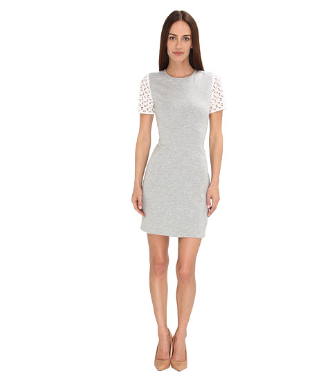 tibi - Italian Ponte Bandage Dress w/ Eyelet Combo (Heather Grey Multi) Women's Dress