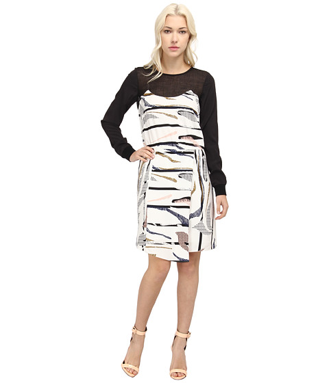 tibi - Gran Desierto w/ Mesh Draped Dress w/ CDC Combo (Arrowwood Multi) Women's Dress