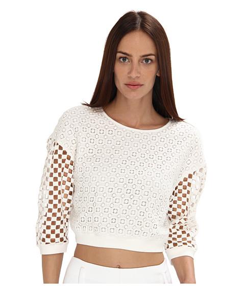 tibi - Sonoran Eyelet Sweatshirt (Ivory Multi) Women