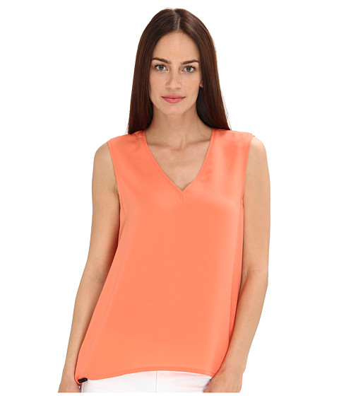 tibi - Bibelot Crepe Tank w/ Shirring Detail (Coral) Women's Sleeveless