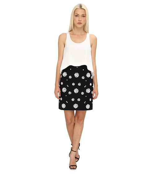 tibi - Shell Beading Double Layer Dress w/ CDC (Black Multi) Women's Dress