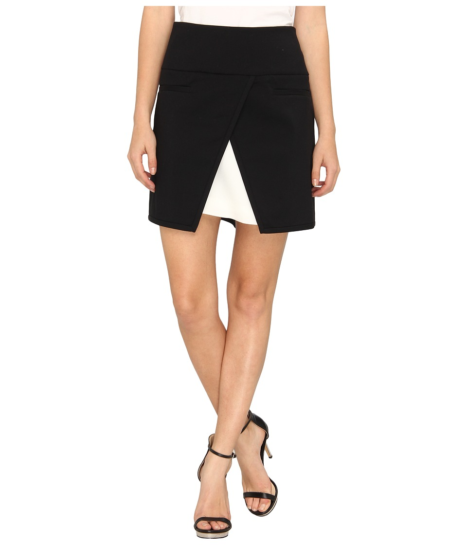 tibi - City Stretch Skirt w/ Bibelot Crepe Combo (Black Multi) Women's Skirt
