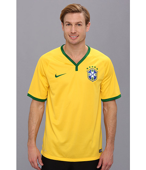 Nike - Brazil S/S Home Stadium Jersey (Varsity Maize/Pine Green) Men's T Shirt
