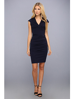 SALE! $144.99 - Save $145 on Nicole Miller Hadley Ponte Cap Sleeve V Neck Dress (Navy) Apparel - 50.00% OFF $290.00