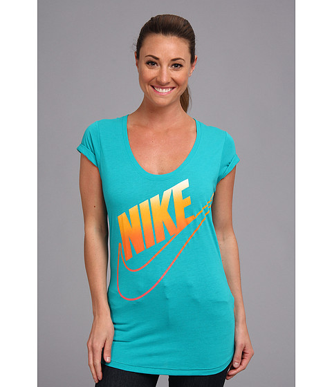 Nike - Oversized Futura Fade Tee (Turbo Green/Laser Crimson) Women