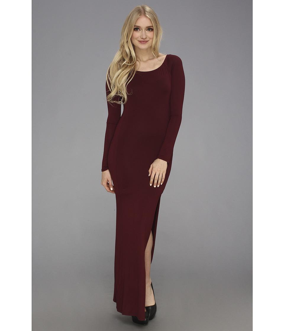 Gabriella Rocha Long Sleeve Slit Maxi Dress Womens Dress (Burgundy)
