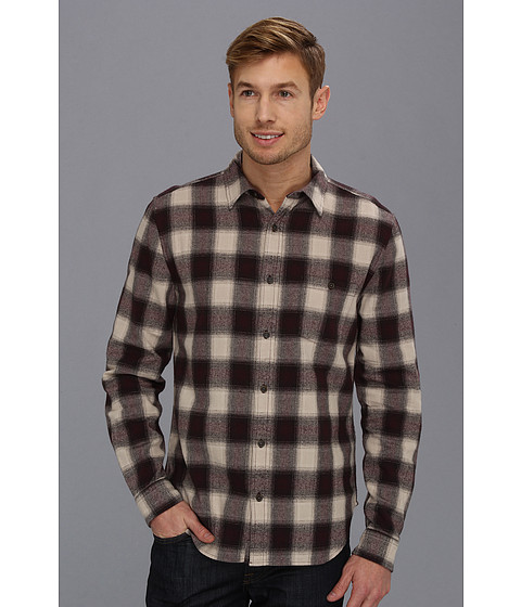 7 For All Mankind - Herringbone Plaid Shirt (Wine/Pebble) Men