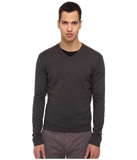 Theory - Leiman V Cashcotton (Charcoal) Men's Sweater