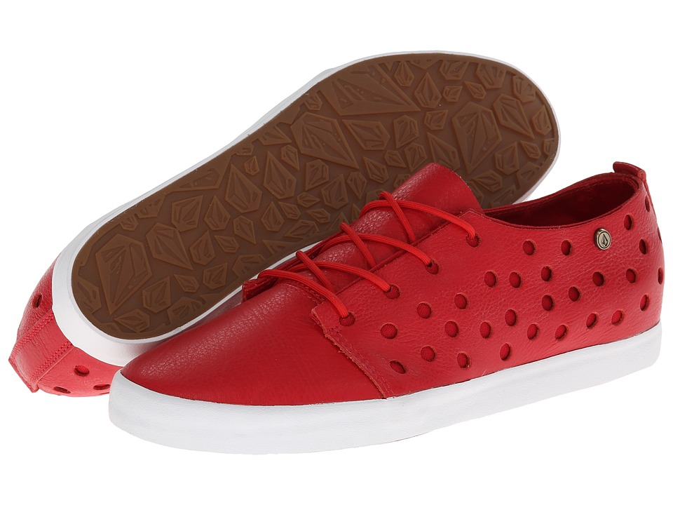Volcom - On The Road (Red Full Grain Leather/Canvas) Women's Lace up casual Shoes