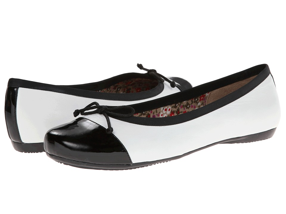 Oh! Shoes - Bailey (White Black Napa Patent) Women's Flat Shoes