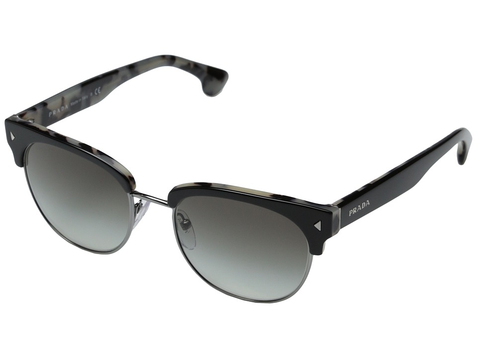 Prada - PR 08QS (Top Black/White Havana/Grey Gradient) Fashion Sunglasses